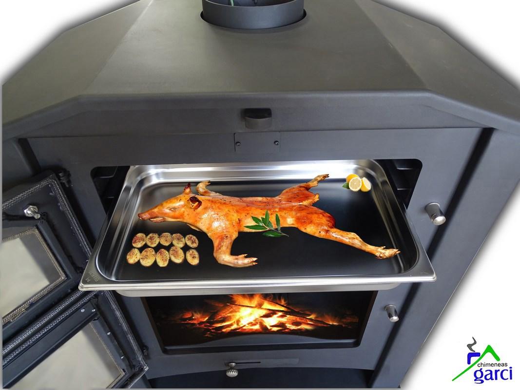 Estufa de le a con horno modelo oviedo - Estufas calefactoras de lena ...